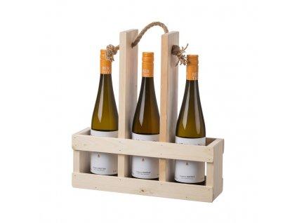 Dřevěný nosič na tři láhve