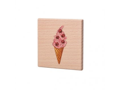 Dřevěný podtácek - Růžová zmrzlina