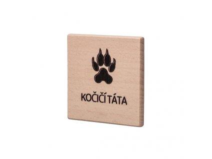 Dřevěný podtácek - Kočičí táta
