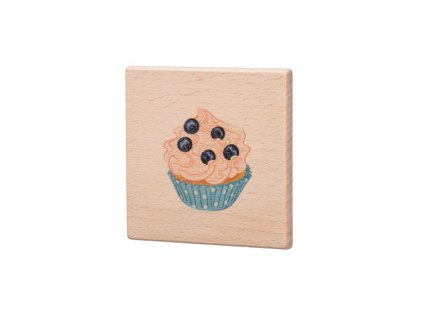 Dřevěný podtácek - Modrý muffin