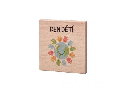 Dřevěný podtácek - Den dětí