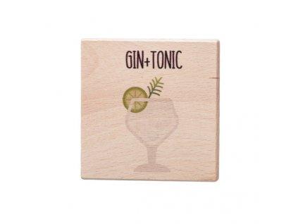 Dřevěný podtácek - Gin + Tonic