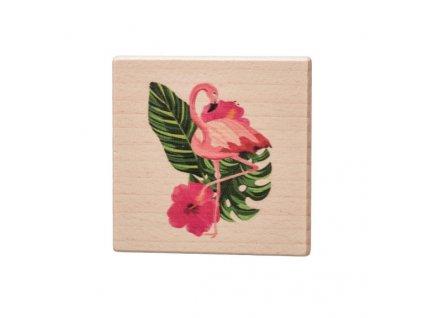 Dřevěný podtácek - Plameňák