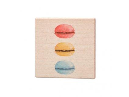 Dřevěný podtácek - Tři makronky
