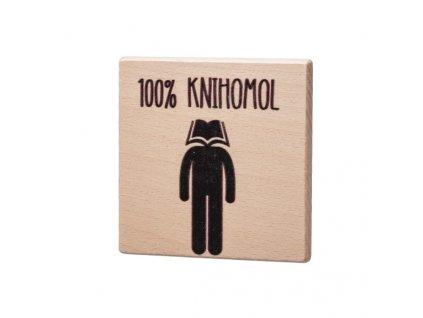 Dřevěný podtácek - 100% Knihomol