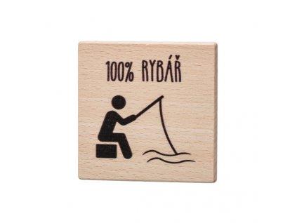 Dřevěný podtácek - 100% Rybář