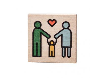 Dřevěný podtácek - Rodina