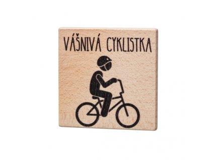 Dřevěný podtácek - Vášnivá cyklistka