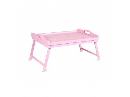 Dřevěný rozkládací tác - růžový