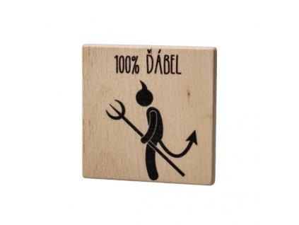 Dřevěný podtácek - 100% Ďábel