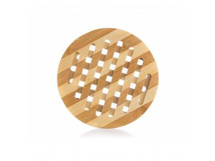 Kulatá bambusová podložka pod hrnec pruhovaná - 18 cm