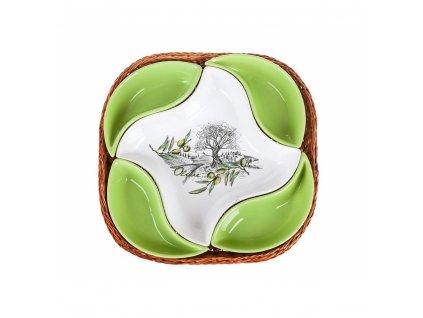 Misky v košíku OLIVES - 5 dílná sada