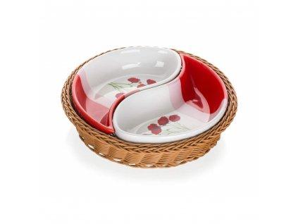 Misky v košíku RED POOPY - 2 dílná sada
