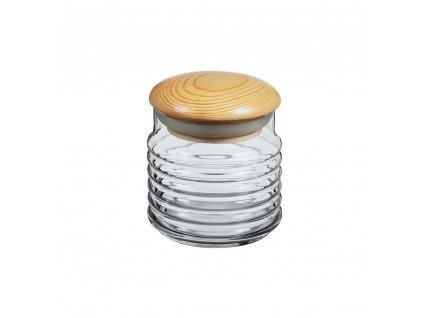 Skleněná dóza s dřevěným víčkem - 0,6 l