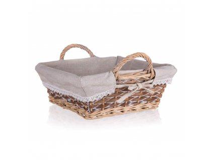 Proutěný košík DUO s uchy čtvercový - 28 x 28 x 10 cm