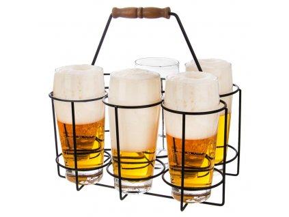 Stojan na pivní láhve/půllitry - 6 pozic