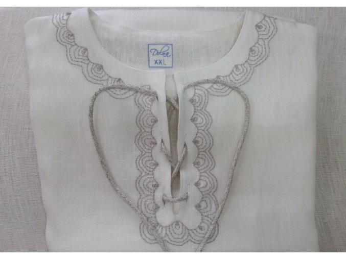 Pánská lněná košile - vyšívaná