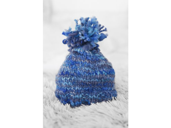 Čepice - merino / modrá