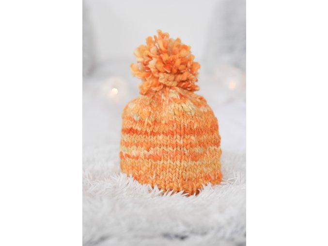 Čepice - merino / oranžová