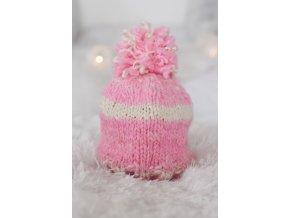 Čepice - merino / růžovo-bílá
