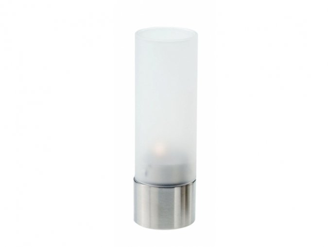 Skleněný svícen 15 cm, ocel a matné sklo