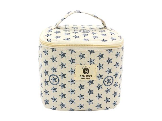 Kosmetická taška textilní, s hvězdičkami