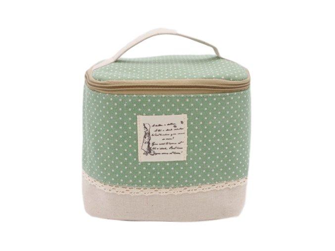 Kosmetická taška textilní, zelená s puntíkami