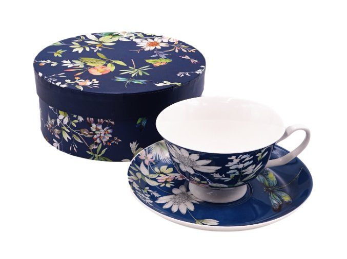 set salek a talirek modry s kvetinkam v darkove krabiccei