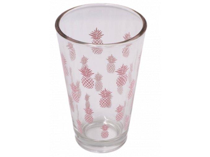 sklenka s motivem ananasu 250 ml ruzova