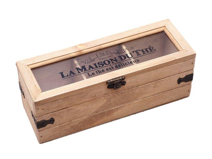 drevena krabicka na caje s preprazkami