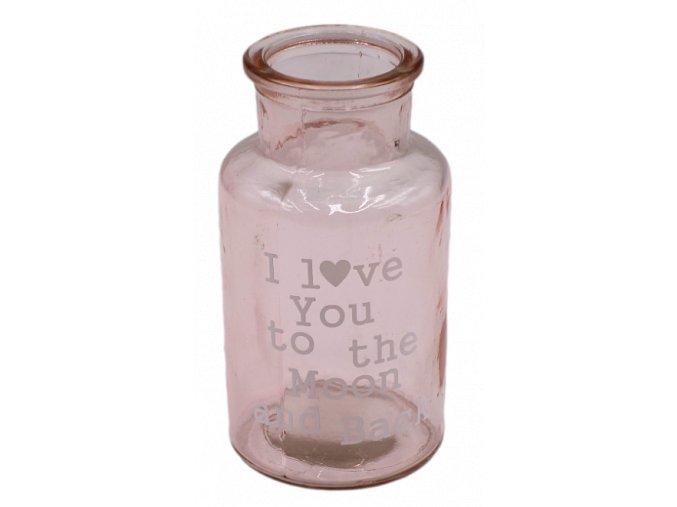 sklenena vazicka ruzova s napisem