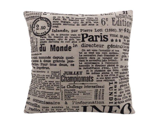 Dekorační povlak na polštář Newspapers, 45 x 45 cm, černobílý