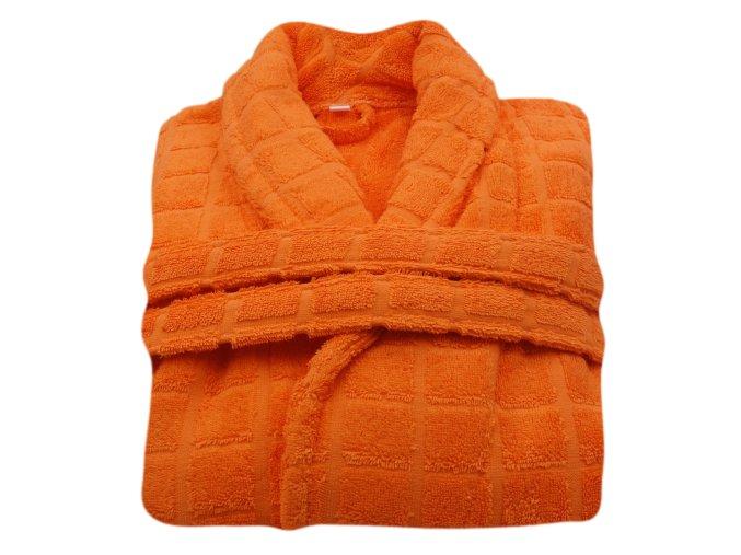 Župan L s límcem, oranžový se vzorem