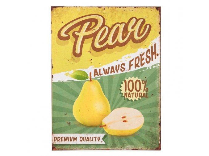 plechova cedulka Pear do kuchyne