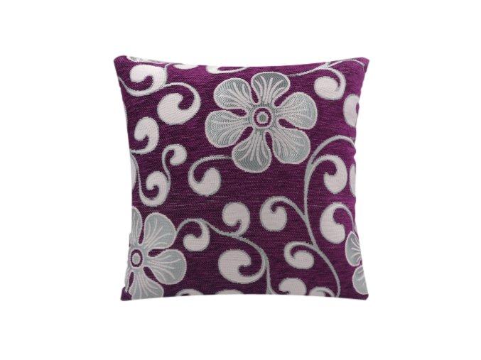 Dekorační povlak na polštář tmavě fialová, květy 40 x 40 cm