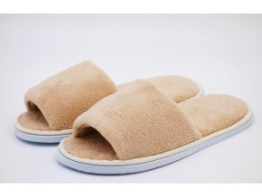 Béžové dámské pantofle, otevřená špička