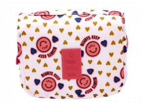 Kosmetická taška, růžová se smajlíkem