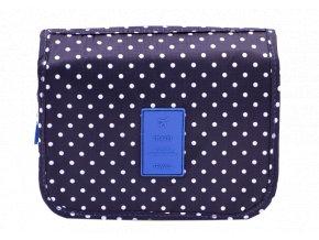 Kosmetická taška, modrá s puntíkmi