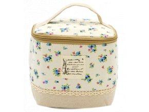 Kosmetická taška textilní, květinový vzor