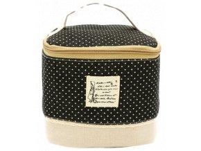 Kosmetická taška textilní, černá s puntíkami