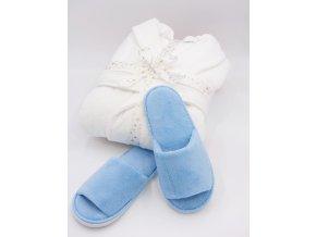 Dámský velurový župan v dárkovém balení + modré otevřené pantofle zdarma