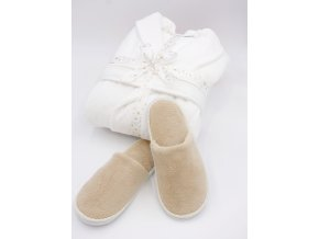 Velurový dámský župan v dárkovém balení + béžové uzavřené pantofle zdarma