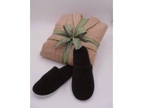 pánský hnědý župan + pantofle