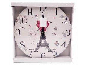 hodiny 33 cm drevene s motivem parize