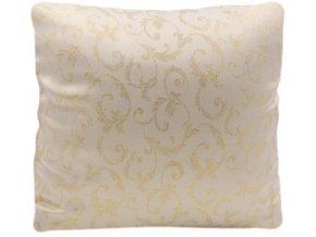 Dekorační povlak na polštář krémový se zlatými ornamenty, 40 x 40 cm
