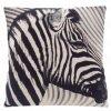 Dekorační povlak na polštář potiskem zebry, 45 x 45 cm, černobílý