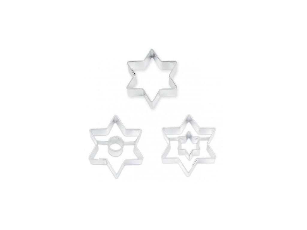 Sada vykrajovátek 3ks-hvězdy se středem