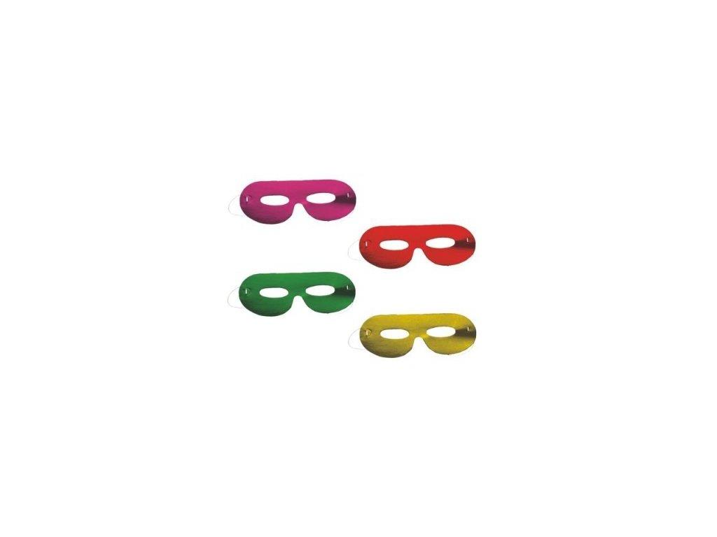Párty maska 6 ks METALLIC mix barev