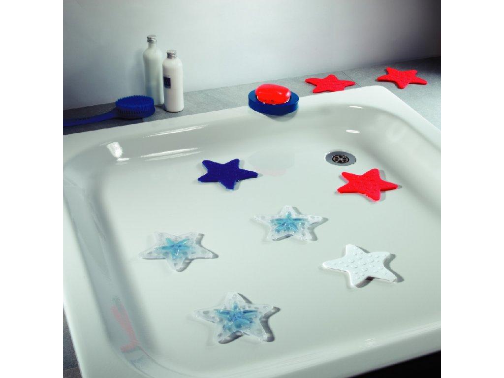 Bezpečnostní protiskluzová dekorace do vany Spirella ASTERIE 5 ks - clear