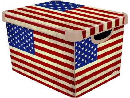 Curver Dekorativní úložný box - L - AMERICAN FLAG 04711-A33